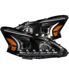 nissan altima black 2014 anzo usa nissan altima 13 14 4dr projector headlights black