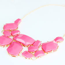 necklace pink stone images Hot pink stone fragments bauble statement bib necklace jpg