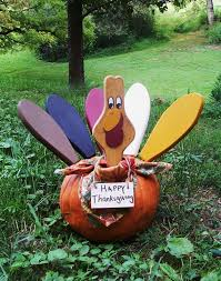 etsy thanksgiving decorations turkey feather pumpkin kit painted wood by legacystudio on etsy