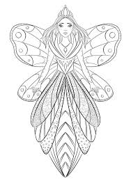 art therapy coloring page illustration of a flower fairy queen