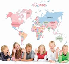 cute colour map of the world wall stickers for kids wall decals