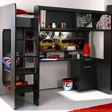 lit mezzanine avec bureau intégré lit mezzanine york avec bureau intégré noir brillant