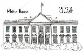 watercolor hand drawn sketch of white house usa washington