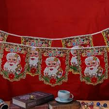 Christmas Decorations Indoor And Outdoor by Aliexpress Com Buy Cartoon Santa Claus Christmas Hanging Flags