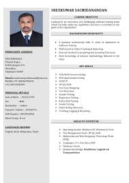 Manual Testing Experience Resume Sample by Sreekumar Software Tester Resume
