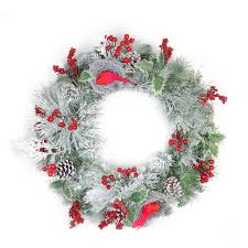 24 berries and cardinals in nests flocked artificial wreath