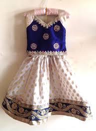 girls navy blue silk and white brocade lehenga with stone work