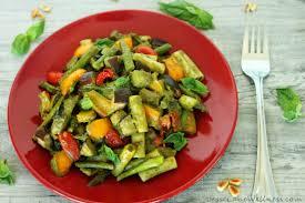 pesto primavera pasta with roasted veggies gluten free vegan