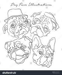 pug dog face illustration vector stock vector 488406361 shutterstock