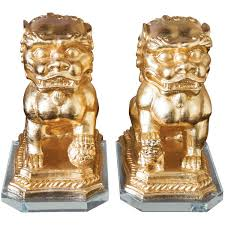 gold foo dogs couture ls golden foo dog statue set of 2 335 liked on