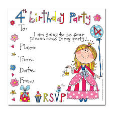 4th birthday party invitation wording drevio invitations design