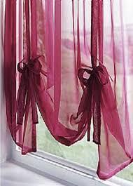 plain voile tie blind maroon net curtain 2 curtains