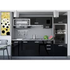 cuisine noir laqué pas cher justhome paula 1 cuisine équipée complète 240 cm couleur noir