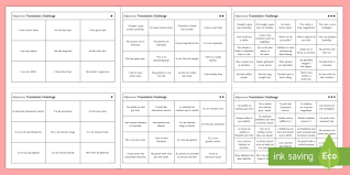 adjectives translation challenge differentiated activity sheets