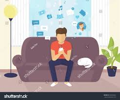 Home Interiors Gifts Inc Website Young Man Sitting On Sofa Home Stock Vector 539094043 Shutterstock