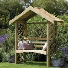 forest garden sienna arbour solid roof lattice back and side panels