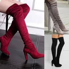s knee boots on sale block lace up high heel boots s knee high suede