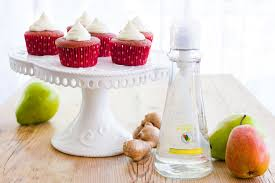 caramelized pear red velvet cupcakes with ginger white chocolate