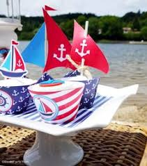 Sailboat Centerpieces Nautical Theme - navy and red nautical birthday party blowout party making