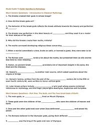 study guide to edith hamilton u0027s mythology short answer questions