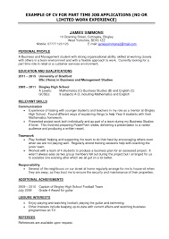 Example Of A Written Resume by Part Time Job Resume Examples Samples Of Resumes