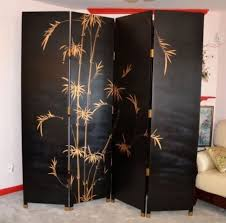 asian screen room divider with bamboo print decolover net