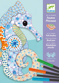 djeco motif art felt tip markers u0026 colouring pencils art kit buy