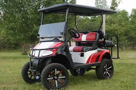 golf cart red white and black custom lifted golf cart ezg 015 metrolina