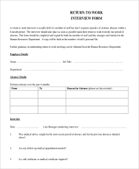return to work interview form template hr advance return to work
