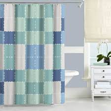 blue and mint green shower curtain with squares