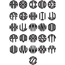 monogram letters circle monogram decal with outline