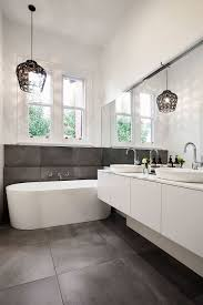fabulous bathroom design with pendant lighting and standalone
