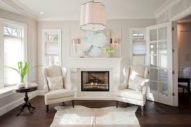 Fireplace With Wingback Chairs Transitional Living Room - Wing chairs for living room