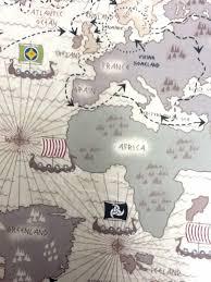 africa map fabric viking ship scandinavian world map travels cotton fabric quilting