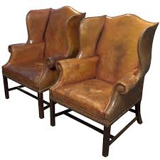 Leather Wing Back Chairs Pair Of English Leather Wingback Chairs Leather Wingback Chair