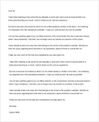 sample teacher resignation letter 6 examples in word