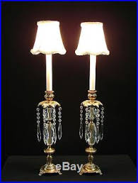Candlestick Buffet Lamps by Vintage Pair French Brass Crystal Candlestick Vanity Boudoir