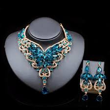 bridal necklace earrings images Fashion indian jewelry set dubai crystal necklace earrings bridal jpg