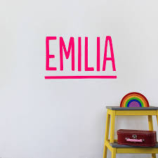 personalised modern name wall sticker by little chip pink option