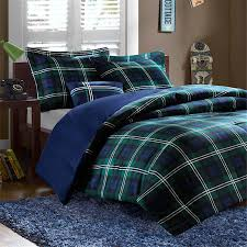 Teen Queen Bedding Masculine Navy Blue U0026 Green Plaid Teen Boy Bedding Twin Xl Full