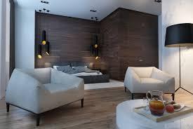 creative studio apartment design ideas with dark color shades