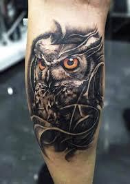 owl tattoo on leg calf by pxa body art