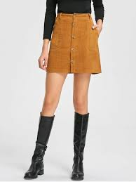 corduroy skirt patch pockets a line corduroy skirt camel skirts m zaful