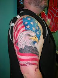 American Flag Awesome Awesome Patriotic Usa Flag With Flying Eagle Tattoo On Left Shoulder