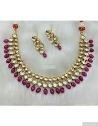 ruby necklace set images Simple vilandi kundan necklace set with ruby drops jpg