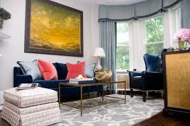 blue velvet sofa living room eclectic with area rug artwork bay