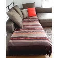 jetee canape jetée de canapé coton inca chocolat orange écru 200x240cm pier import