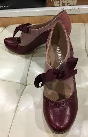 ribbon heels chelsea crew burgundy and pink heels with a ribbon tie