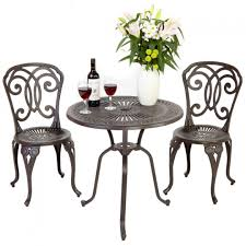 Metal Garden Table And Chairs Uk Furniture Cast Aluminium Manor Bistro Set With Brown Ceramic