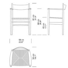 Armchair Dimensions Hans Wegner Shaker Dining Armchair Ch37 Carl Hansen U0026 Son